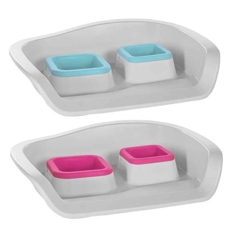 Дуво+ Пластиковый поднос Twice/Nice со съемными мисками для собак и кошек, 48*38*12 см, 2*300 мл, пластик, в ассортименте, DUVO+