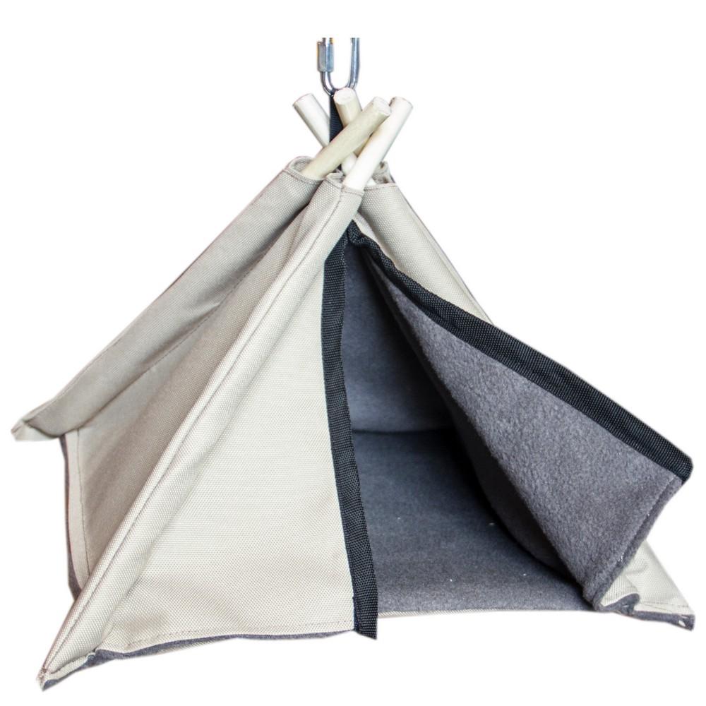 ПарротсЛаб Вигвам-палатка для птиц с жердочкой PL2541 серый, 29*23 см, ParrotsLab