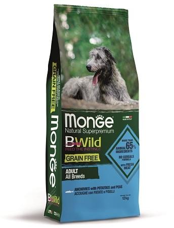 Монже Корм беззерновой BWild GRAIN FREE для собак всех пород Анчоус/Картофель/Горох, Monge