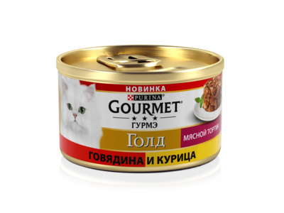Консервы Gourmet Gold Мясной тортик для кошек 12*85 г, в ассортименте, Gourmet