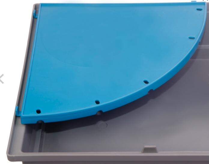 Вольтрега Пластиковая угловая полка для клеток, радиус 20 см, цвет синий, Voltrega