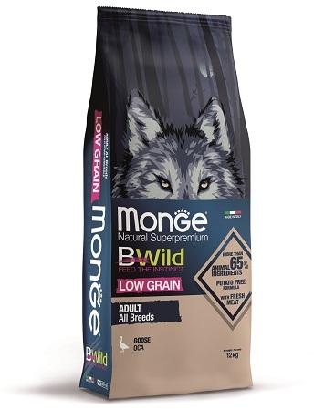 Монже Корм низкозерновой BWild LOW GRAIN для собак всех пород, Гусь, Monge
