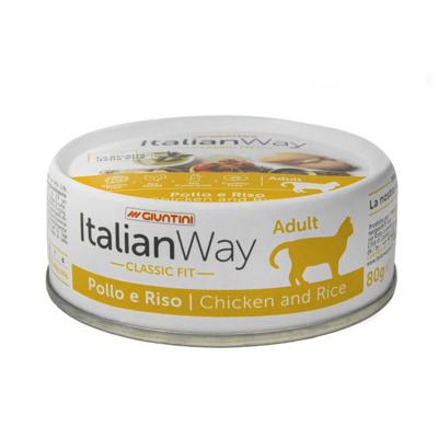 Италиан Вэй Консервы безглютеновые Chicken/Rice для кошек, Курица/Рис, 80 г, Italian Way