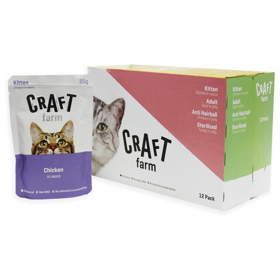 Крафт Фарм Паучи для котят Курица в соусе 12*85 г, Craft Farm