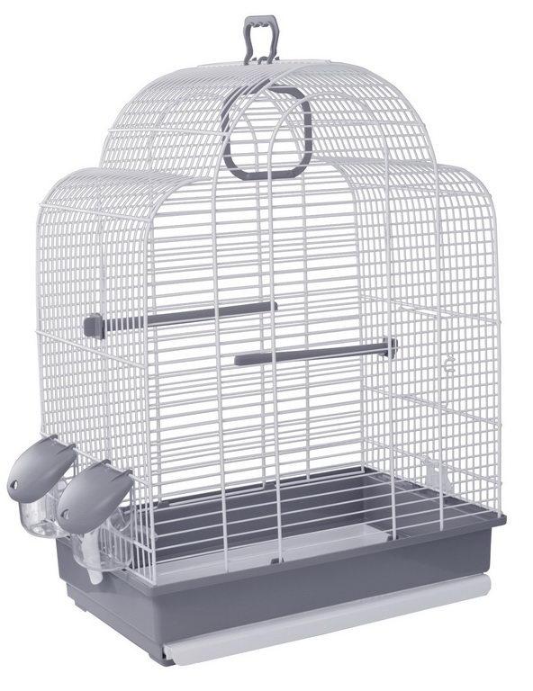 Вольтрега Клетка для птиц 39*25,5*54 см серый поддон/белая решетка, Voltrega