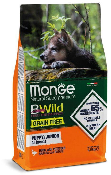 Монже Корм BWild GRAIN FREE PUPPY/JUNIOR беззерновой для щенков всех пород Утка/Картофель, в ассортименте, Monge