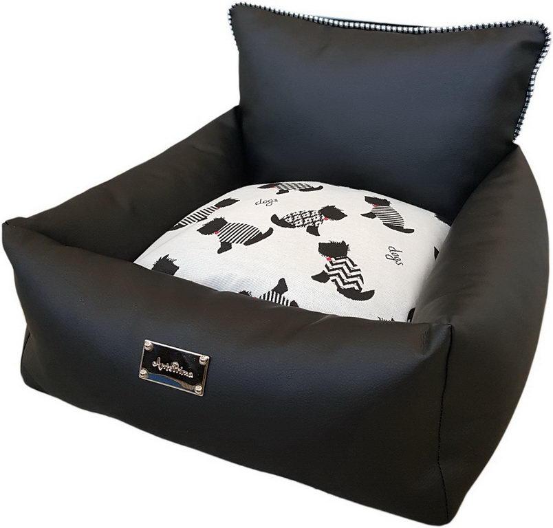 АнтеПрима Лежак для животных Aurora черный, подушка собачки, в ассортименте, экокожа, AntePrima