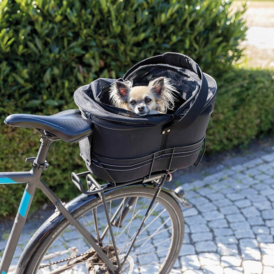 Трикси Сумка-переноска для перевозки животных на велосипеде, крепится на багажник 60*29*49 см черная, Trixie