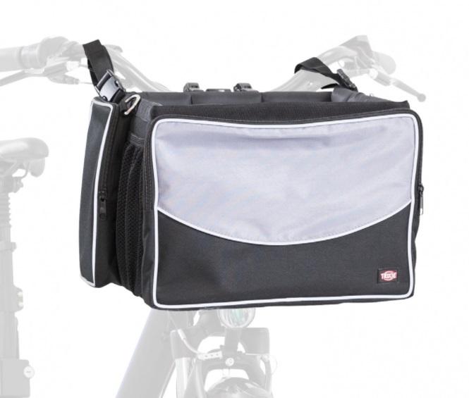 Трикси Сумка-переноска для перевозки животных на велосипеде, крепится на руль, 41*26*26 см, черная/серая, Trixie