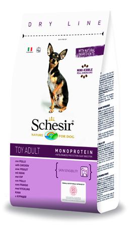 Шезир Корм Toy Adult Monoprotein Dry Line для собак карликовых пород Курица, в ассортименте, Schesir