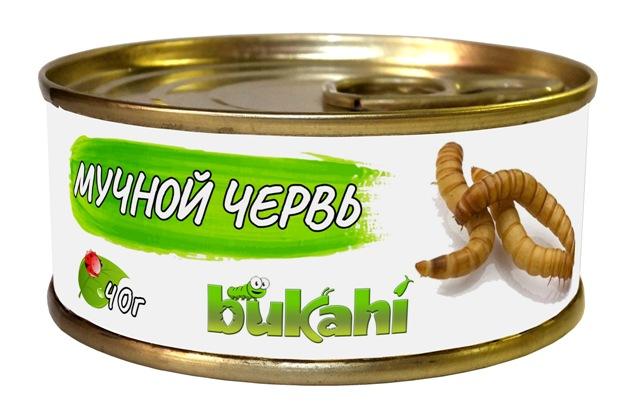 Букахи Консервы Личинки мучного червя для насекомоядных, 40 г, Bukahi