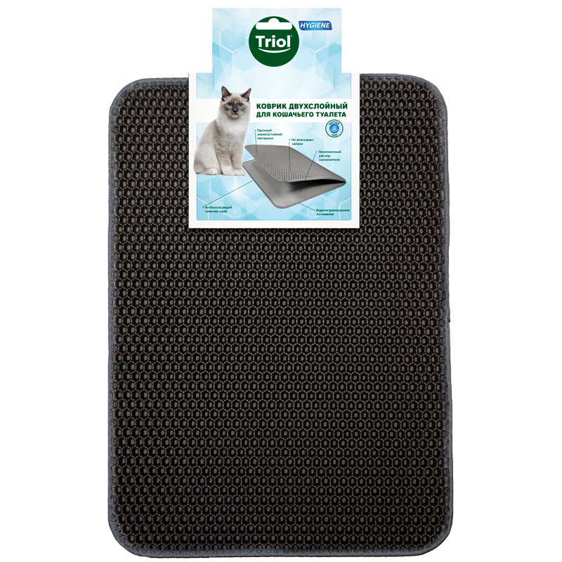 Триол Коврик-ловушка для кошачьего туалета Соты темно-серый, 47*37*1,5 см, Triol