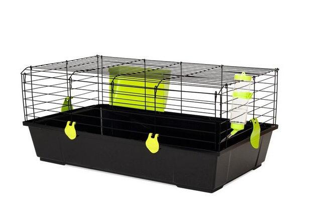 Вольтрега Клетка Nera52 для кроликов и морских свинок черная, сенник и поилка в комплектев ассортименте, Voltrega