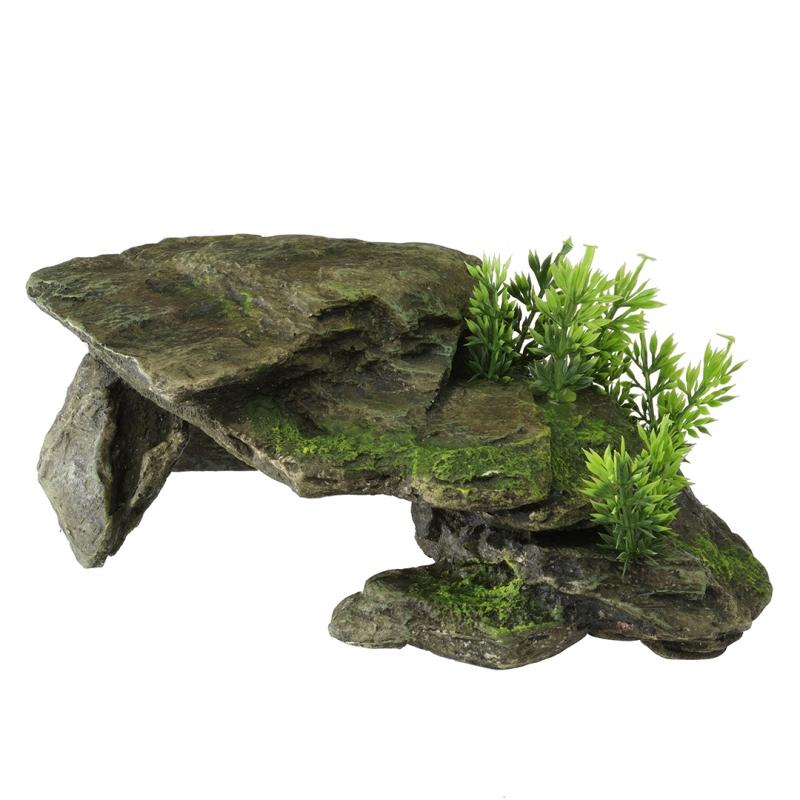 АкваДелла Укрытие Каменный грот с растениями, 28,5*16,5*10,5 см, AquaDella