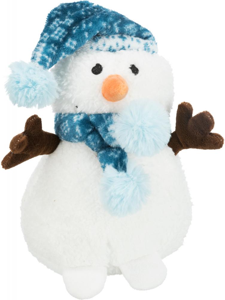 Трикси Игрушки новогодние для собак Снеговик в шапочке с помпоном и пищалкой, 20 см, плюш, Trixie