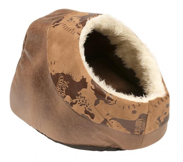Дуво+ Домик-пещера Cuddy Cave Explorer для кошек и собак, 45*35 см, коричневый, Duvo+