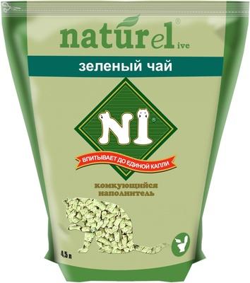 N1 Наполнитель Naturel комкующийся древесный (гималайский кедр) Зеленый Чай для кошачьего туалета в ассортименте, N1
