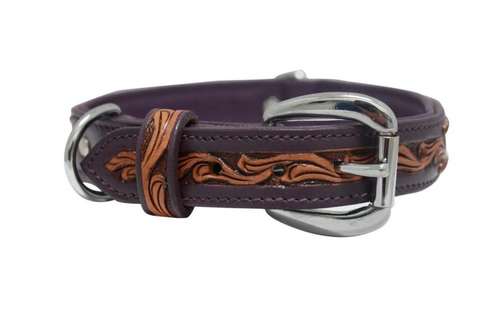 Энджел Ошейник для собак San Antonio, фиолетовый, натуральная кожа, в ассортименте, Angel