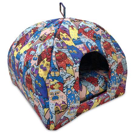 CLP Домик-яранга Цветные коты, в ассортименте, хлопок, Comfort Line for Pets