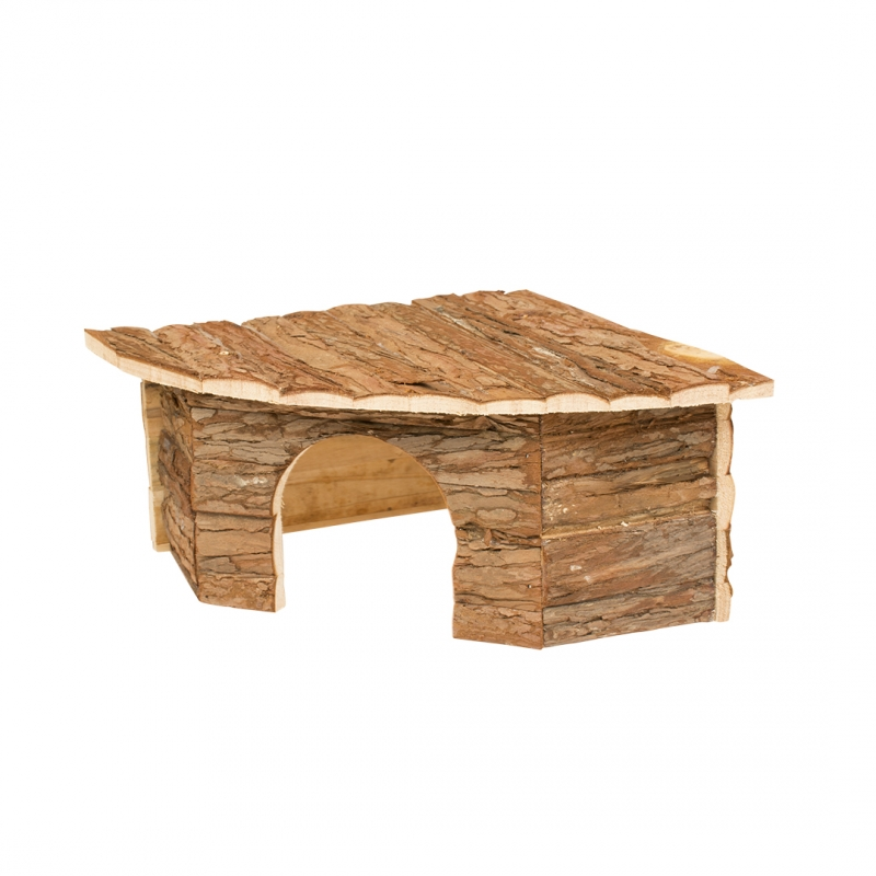 Дуво+ Дом с корой для грызунов угловой, в ассортименте, DUVO+