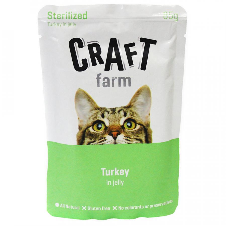 Крафт Фарм Паучи Adult Sterelized для стерилизованных кошек Индейка в желе 12*85 г, Craft Farm