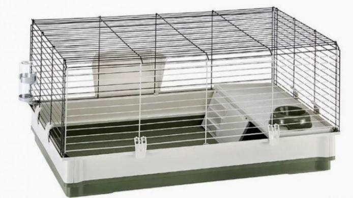 Ферпласт Клетка Krolik Extra large для кроликов и морских свинок, 120*60*50 см, серый или зеленый поддон, Ferplast