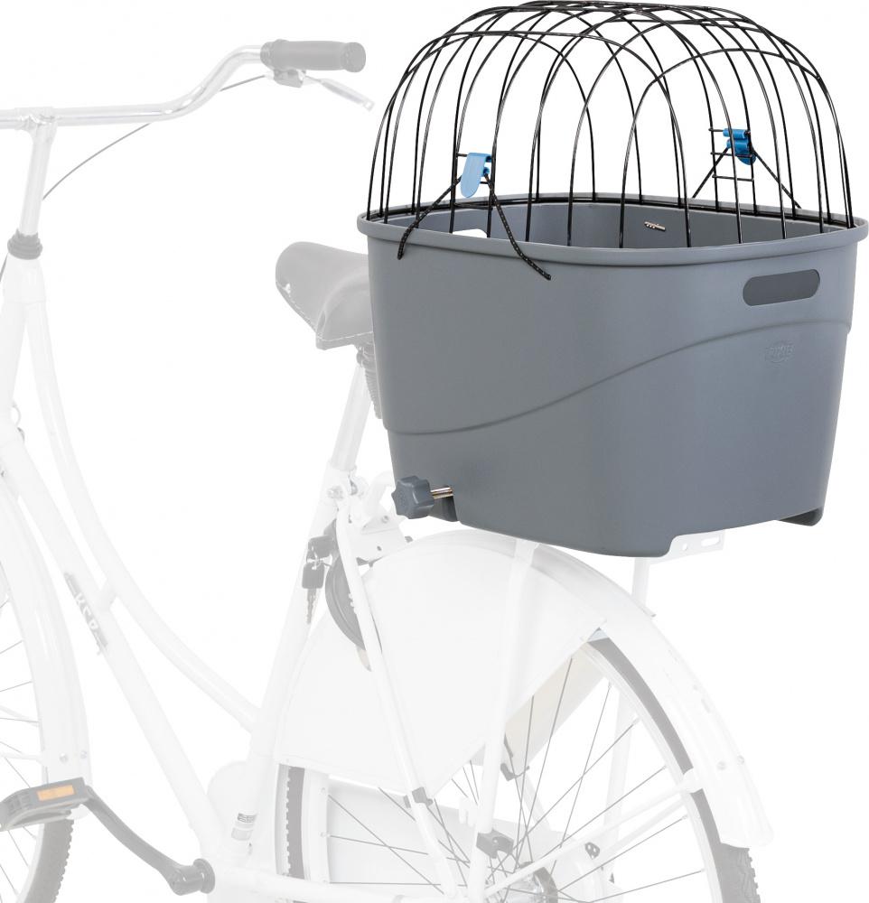Трикси Корзина пластиковая для перевозки животных на велосипеде, крепится на багажник 36*46*47 см серая, Trixie