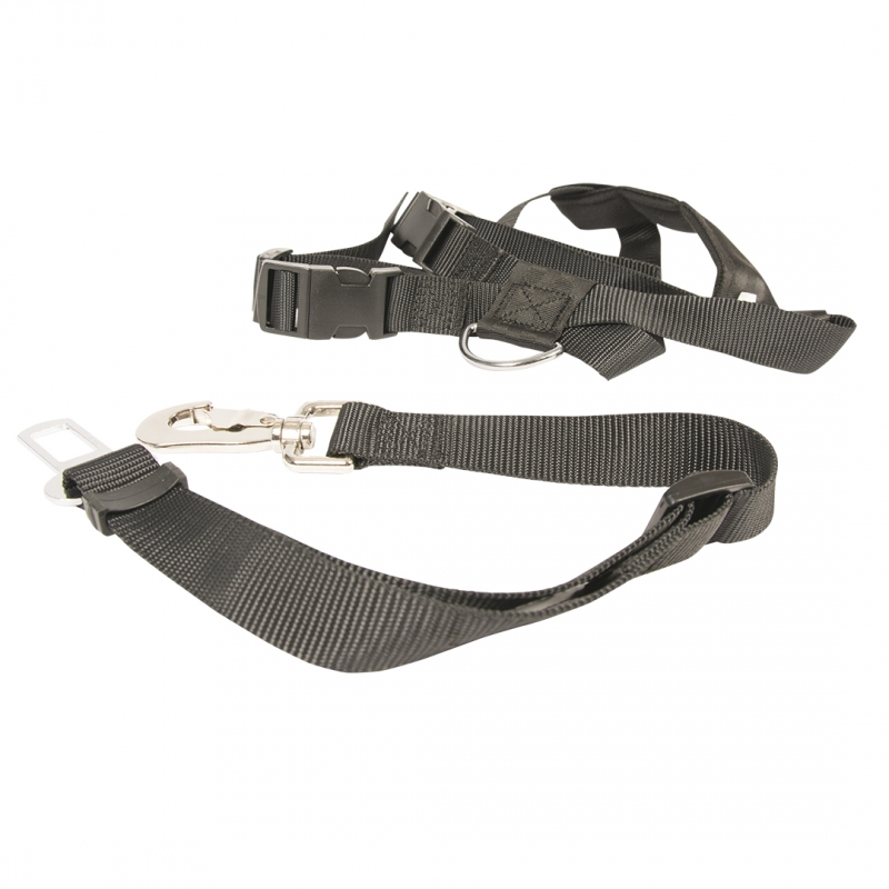 Дуво+ Ремень безопасности в автомобиль с шлейкой для собак, черный, нейлон, Duvo+