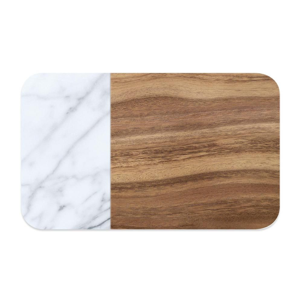 Тархонг Коврик под миски Acacia Wood+Carrara коричнево-белый, 48*29 см, TarHong