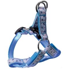 ПетЛайн Шлейка светящаяся Морская, нейлон, M, ширина ремешков 1,5 см, обхват 40 см, голубая, PetLine