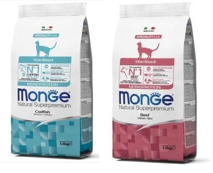 Монже Корм Cat Monoprotein Sterilised для стерилизованных кошек, в ассортименте, 1,5 кг, Monge