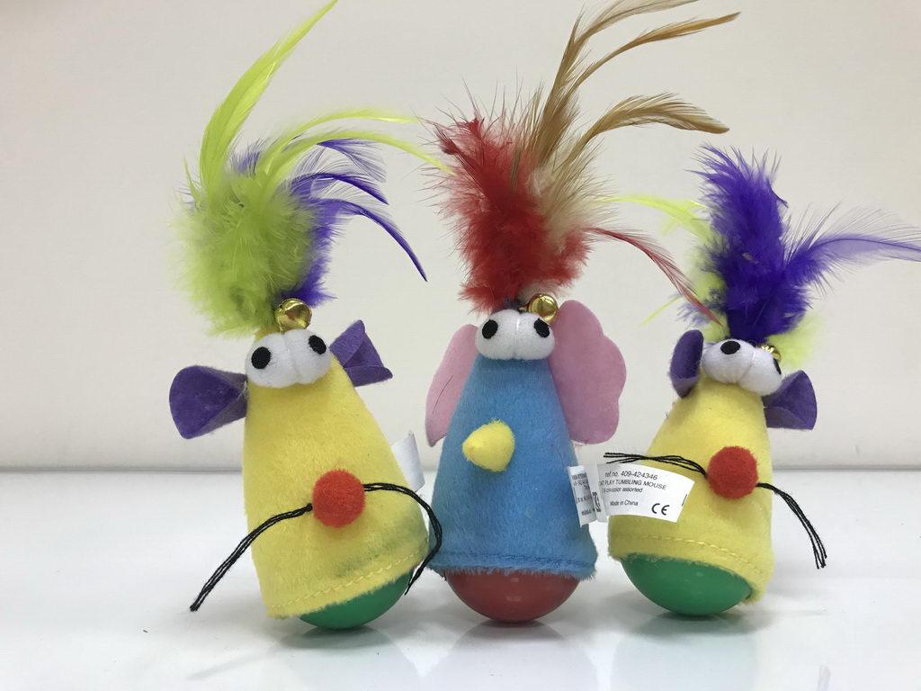 Эби Неваляшка с перьями Tumbling Mouse, в ассортименте, 5*5 *7,6/15 см, 1 шт, Europet Bernina International
