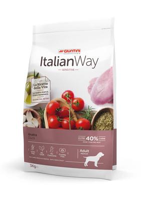 Италиан Вэй Корм сухой беззерновой Medium Sensitive Duck для собак средних пород с чувствительным пищеварением, Утка, в ассортименте, Italian Way