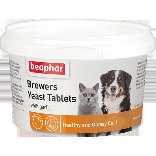 Беафар Пивные дрожжи Brewers Yeast Tablets с чесноком для кошек и собак, 250 таб, Beaphar