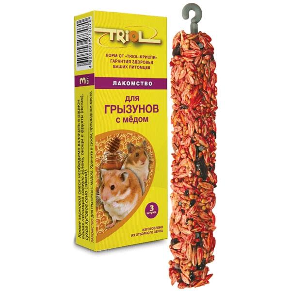 Лакомство для всех грызунов Криспи, в ассортименте, 3 палочки, масса 80 г, Россия