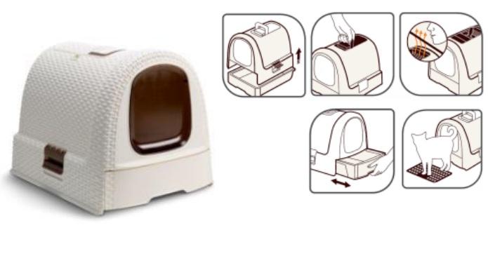 Корвер Туалет-бокс для кошек Раттан с выдвижным лотком, совком и ковриком-решеткой в комплекте, 51*39*40 см, в ассортименте, Curver