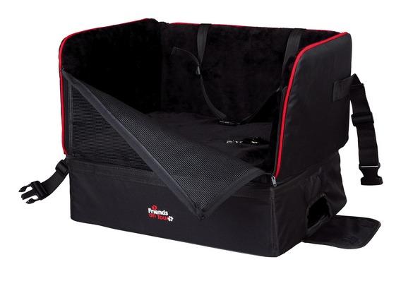 Трикси Сумка-подстилка для перевозки собак в автомобиле, 45*38*38 см, черный или белый мех, Trixie