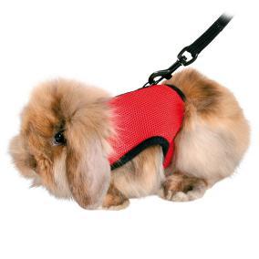 Трикси Мягкая шлейка-жилетка с поводком для морских свинок, кроликов, хорьков, кошек, полиэстер/нейлон, цвета в ассортименте, Trixie