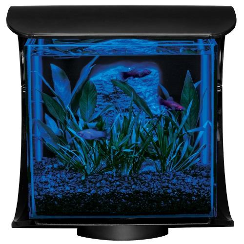 Тетра Дизайнерский нано-аквариум Silhouette (Силуэт) с LED-освещением ДЕНЬ/НОЧЬ, черный, объем 12 л, Tetra