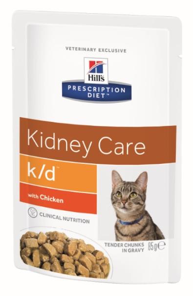 Паучи Хиллс Prescription Diet k/d Feline для кошек, При заболеваниях почек и сердца, профилактика МКБ, 12*85 г, 3 варианта, Hills