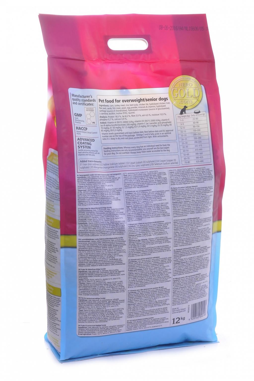 Неро Голд Корм сухой низкокалорийный Light Senior 18/8 для пожилых собак всех пород, Индейка, в ассортименте, Nero Gold