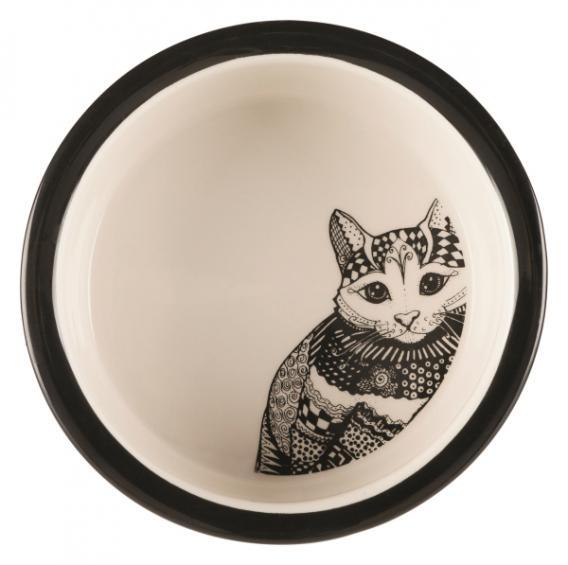 Трикси Миска керамическая для кошек, дизайн Zentangle, 300 мл, диаметр 12 см, Trixie