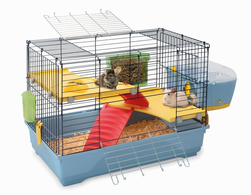 Имак Клетка Benny 80 для грызунов и хорьков, 80*48,5*60 см, пепельно-синий поддон, с внешним домиком-переноской, Imac