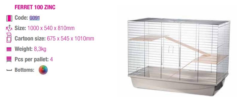 ИнтерЗоо Клетка Fretka G091 для хорьков и шиншилл, 100*58*80 см, в ассортименте, InterZoo