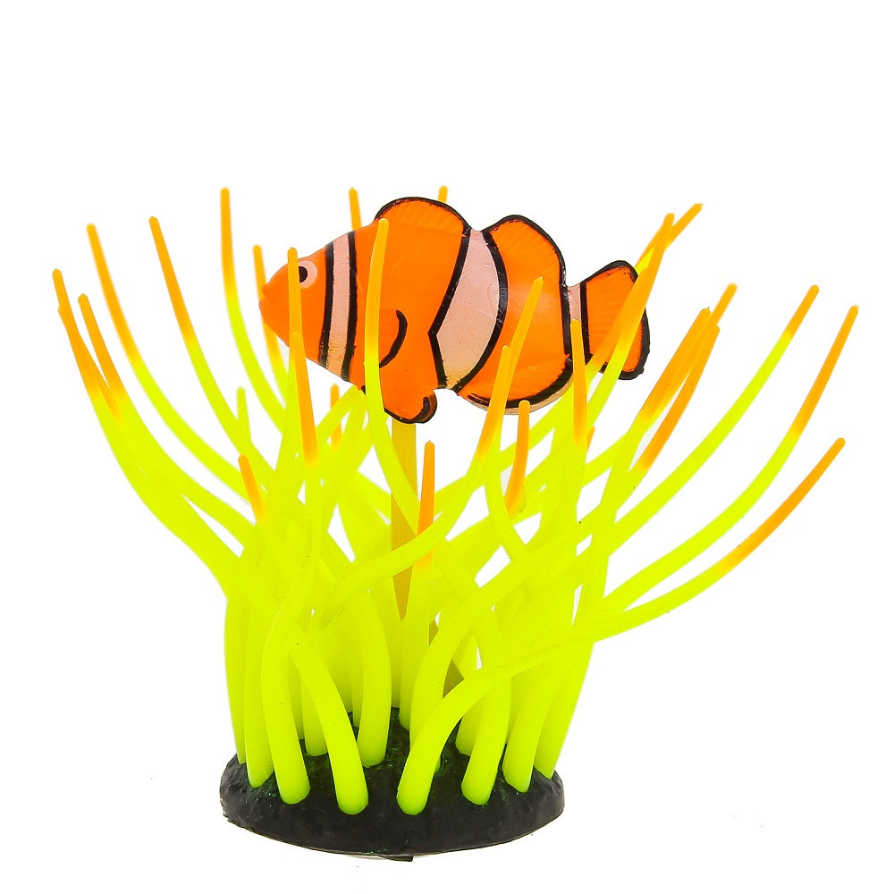 Глокси Флуоресцентная аквариумная декорация Рыба в морской анемоне, 11*8*12 см, в ассортименте, Gloxy