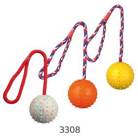 Трикси Мяч на веревке, длина 30 см, в ассортименте, каучук/хлопок, Trixie