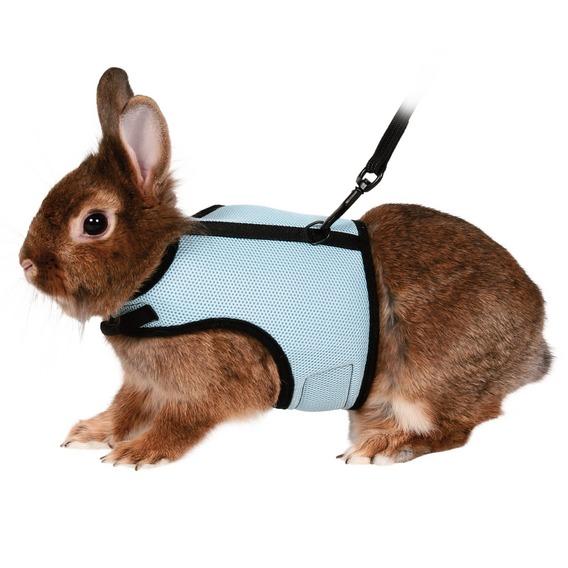 Трикси Мягкая шлейка-жилетка с поводком для кроликов, кошек, полиэстер/нейлон, в ассортименте, Trixie