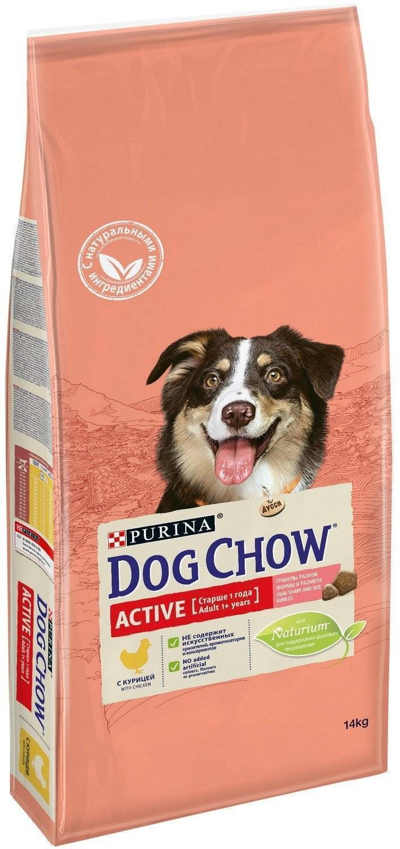 Корм Дог Чау сухой Active для взрослых активных собак, Курица, 14 кг, Dog Chow