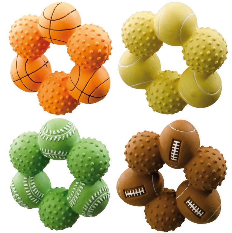 Ферпласт Игрушка-кольцо Цветок PA 5542 с пищалкой, латекс, 9,5*9,5*3,5 см, цвета в ассортименте, Ferplast