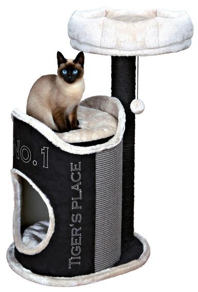 Трикси Домик-башня для кошек Susana, 54*44*90 см, замша/плюш, черный, Trixie